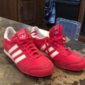 Women's Hot Pink Adidas sneakers. Size 10